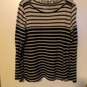 J Crew XL the artist striped  tee black ecru work